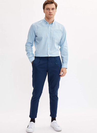 DeFacto Basic Modern Fit Gömlek Mavi